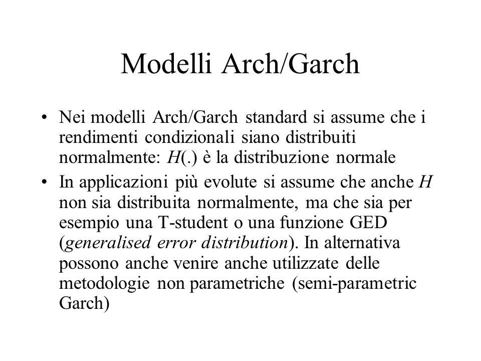 Modelli Arch/Garch Nei modelli Arch/Garch standard si assume che i rendimenti condizionali siano distribuiti normalmente: H(.) è la distribuzione norm
