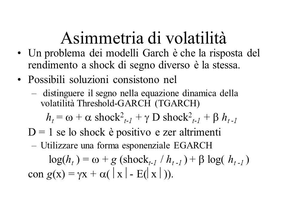 Asimmetria di volatilità Un problema dei modelli Garch è che la risposta del rendimento a shock di segno diverso è la stessa. Possibili soluzioni cons