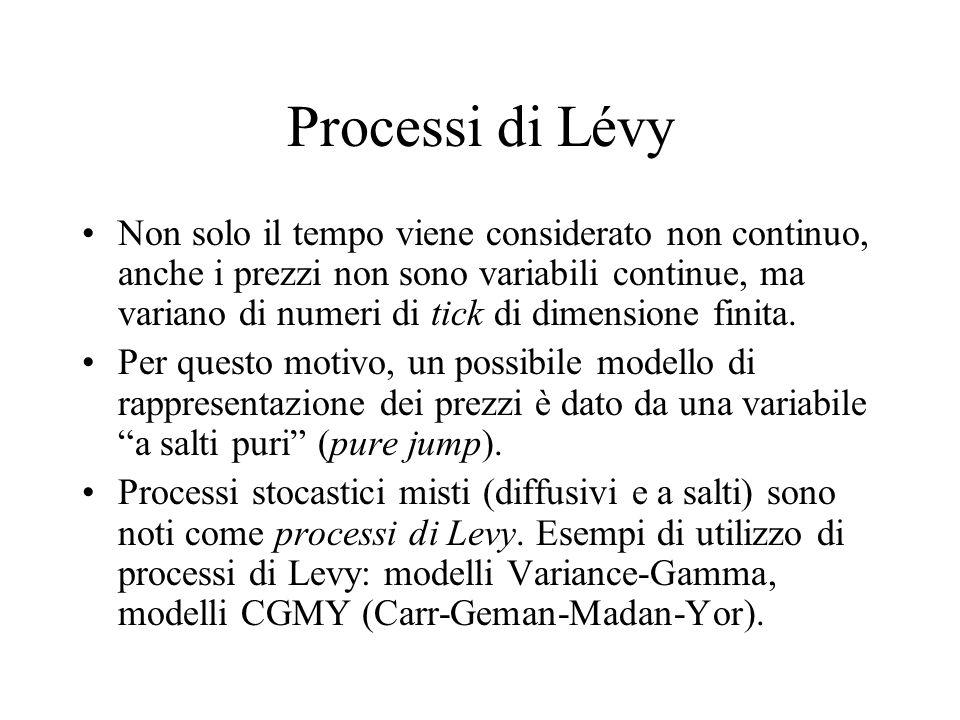 Processi di Lévy Non solo il tempo viene considerato non continuo, anche i prezzi non sono variabili continue, ma variano di numeri di tick di dimensi