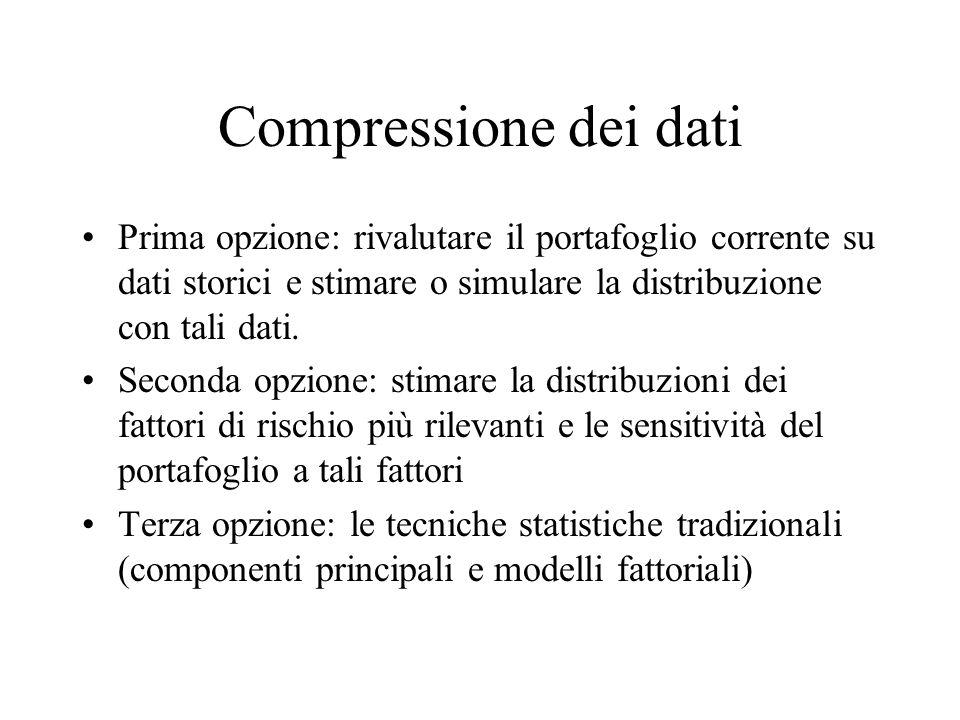 Compressione dei dati Prima opzione: rivalutare il portafoglio corrente su dati storici e stimare o simulare la distribuzione con tali dati. Seconda o