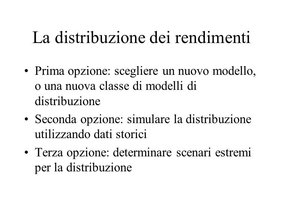 La distribuzione dei rendimenti Prima opzione: scegliere un nuovo modello, o una nuova classe di modelli di distribuzione Seconda opzione: simulare la