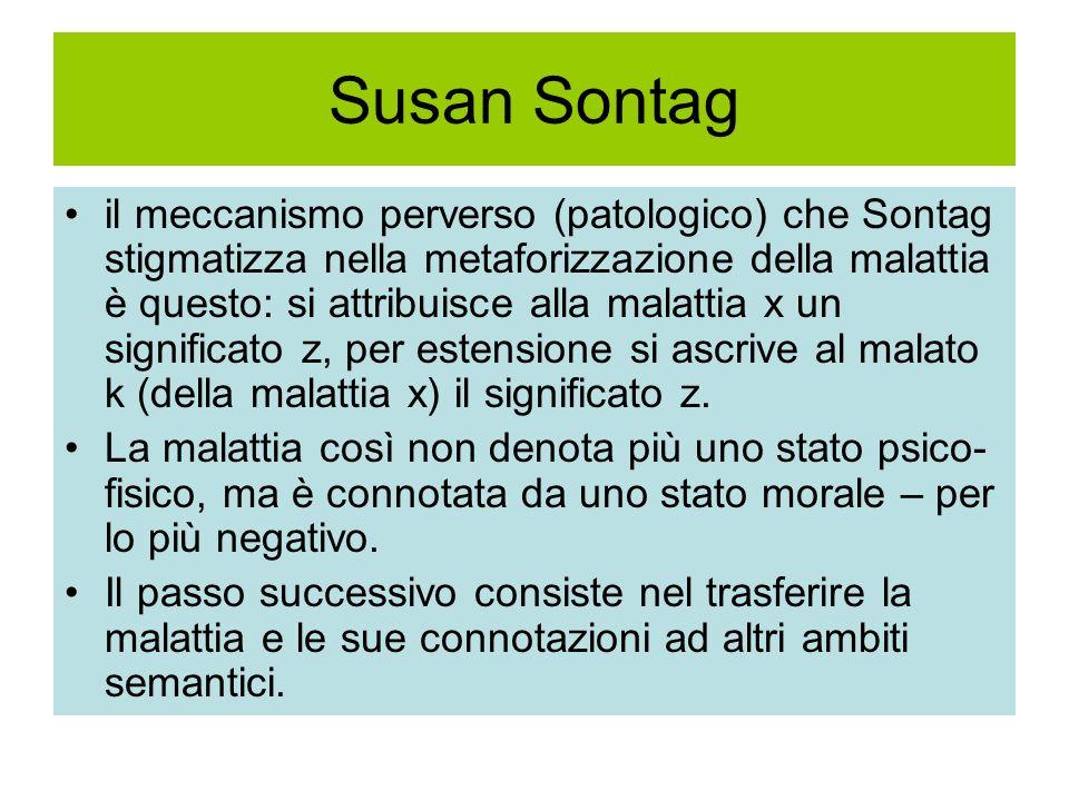 Susan Sontag il meccanismo perverso (patologico) che Sontag stigmatizza nella metaforizzazione della malattia è questo: si attribuisce alla malattia x