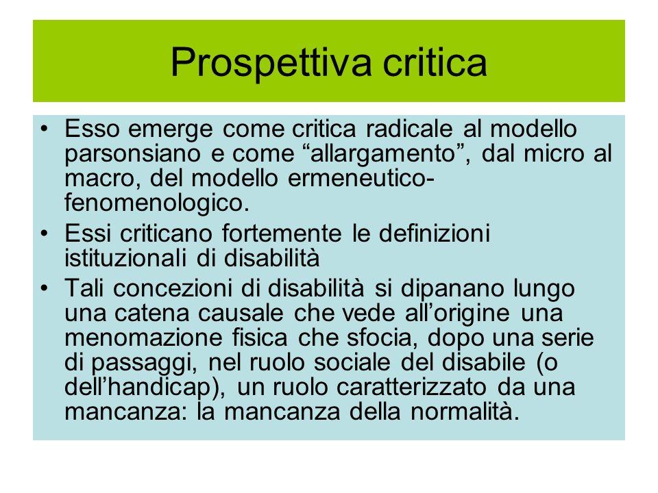 Prospettiva critica Esso emerge come critica radicale al modello parsonsiano e come allargamento, dal micro al macro, del modello ermeneutico- fenomen