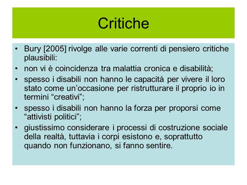 Critiche Bury [2005] rivolge alle varie correnti di pensiero critiche plausibili: non vi è coincidenza tra malattia cronica e disabilità; spesso i dis