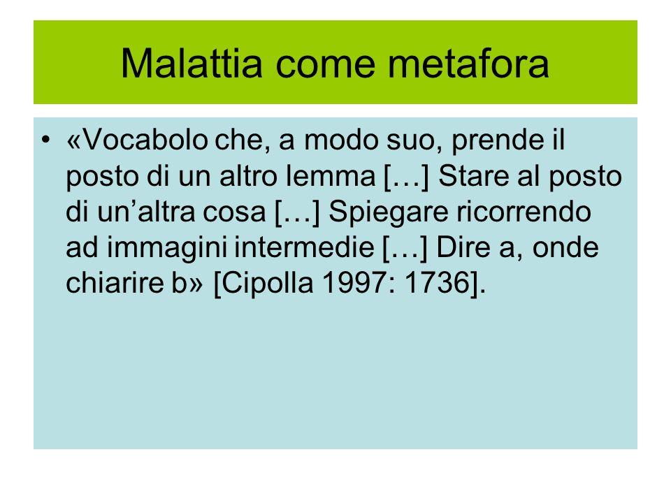 Malattia come metafora «Vocabolo che, a modo suo, prende il posto di un altro lemma […] Stare al posto di unaltra cosa […] Spiegare ricorrendo ad imma