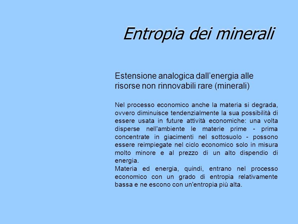 Entropia dei minerali Estensione analogica dallenergia alle risorse non rinnovabili rare (minerali) Nel processo economico anche la materia si degrada