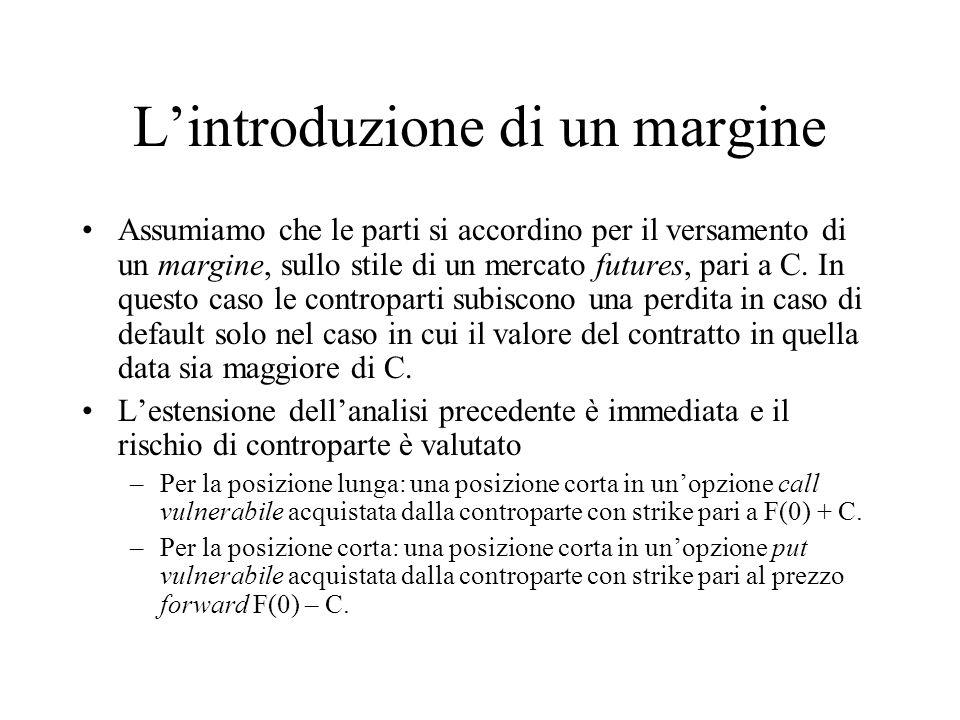 Lintroduzione di un margine Assumiamo che le parti si accordino per il versamento di un margine, sullo stile di un mercato futures, pari a C. In quest