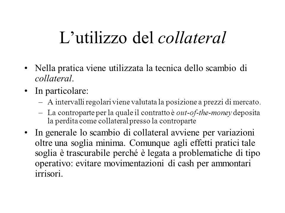 Lutilizzo del collateral Nella pratica viene utilizzata la tecnica dello scambio di collateral. In particolare: –A intervalli regolari viene valutata