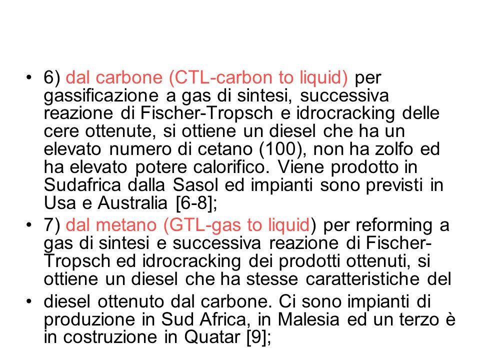 6) dal carbone (CTL-carbon to liquid) per gassificazione a gas di sintesi, successiva reazione di Fischer-Tropsch e idrocracking delle cere ottenute,