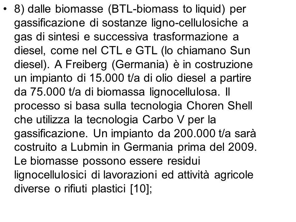 8) dalle biomasse (BTL-biomass to liquid) per gassificazione di sostanze ligno-cellulosiche a gas di sintesi e successiva trasformazione a diesel, com
