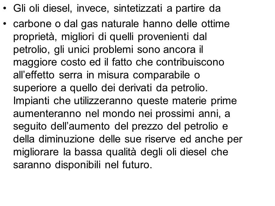 Gli oli diesel, invece, sintetizzati a partire da carbone o dal gas naturale hanno delle ottime proprietà, migliori di quelli provenienti dal petrolio