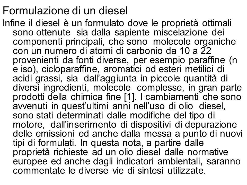 Formulazione di un diesel Infine il diesel è un formulato dove le proprietà ottimali sono ottenute sia dalla sapiente miscelazione dei componenti prin