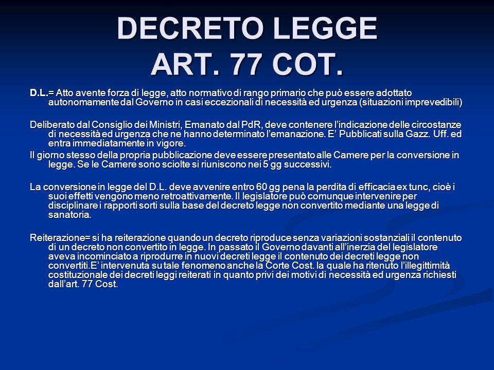 DECRETO LEGGE ART.77 COT.