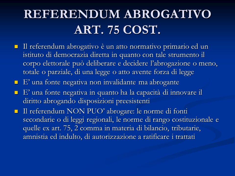REFERENDUM ABROGATIVO ART.75 COST.