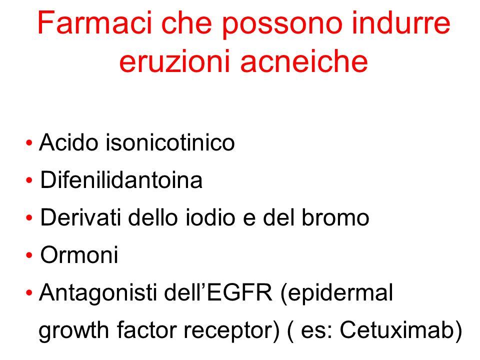 Farmaci che possono indurre eruzioni acneiche Acido isonicotinico Difenilidantoina Derivati dello iodio e del bromo Ormoni Antagonisti dellEGFR (epide