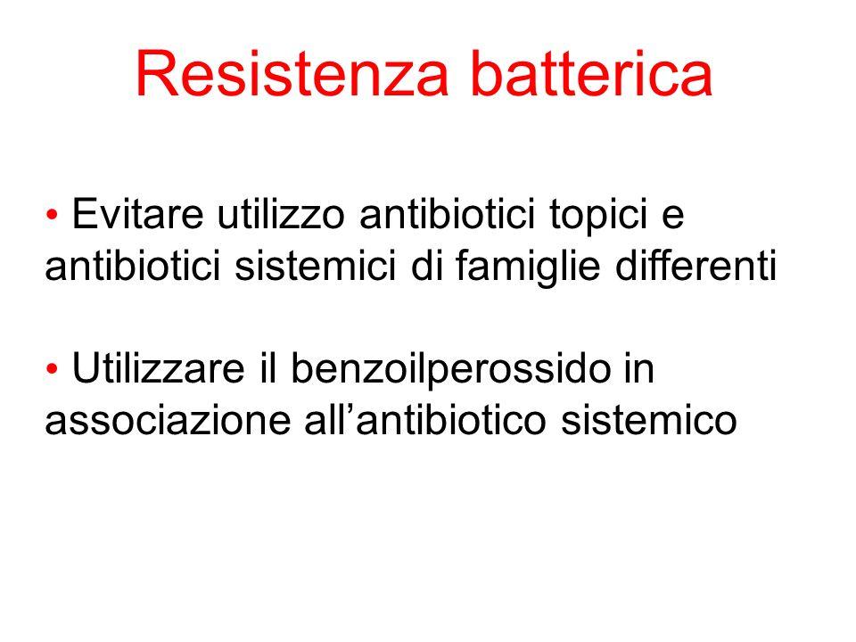 Resistenza batterica Evitare utilizzo antibiotici topici e antibiotici sistemici di famiglie differenti Utilizzare il benzoilperossido in associazione