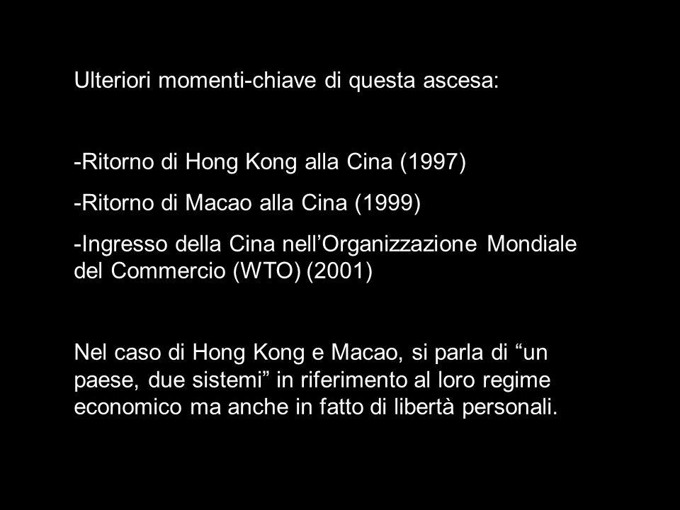 Ulteriori momenti-chiave di questa ascesa: -Ritorno di Hong Kong alla Cina (1997) -Ritorno di Macao alla Cina (1999) -Ingresso della Cina nellOrganizz