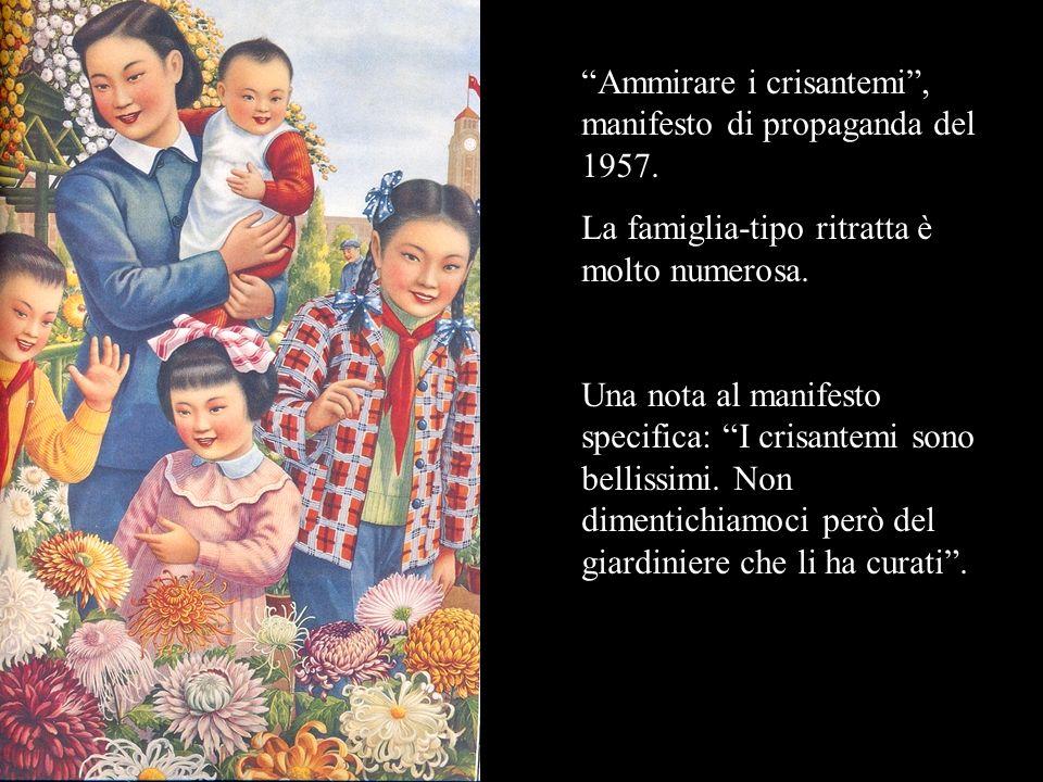 Ammirare i crisantemi, manifesto di propaganda del 1957. La famiglia-tipo ritratta è molto numerosa. Una nota al manifesto specifica: I crisantemi son