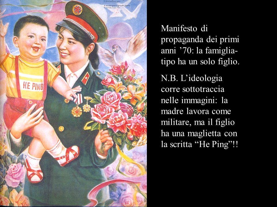 Manifesto di propaganda dei primi anni 70: la famiglia- tipo ha un solo figlio. N.B. Lideologia corre sottotraccia nelle immagini: la madre lavora com