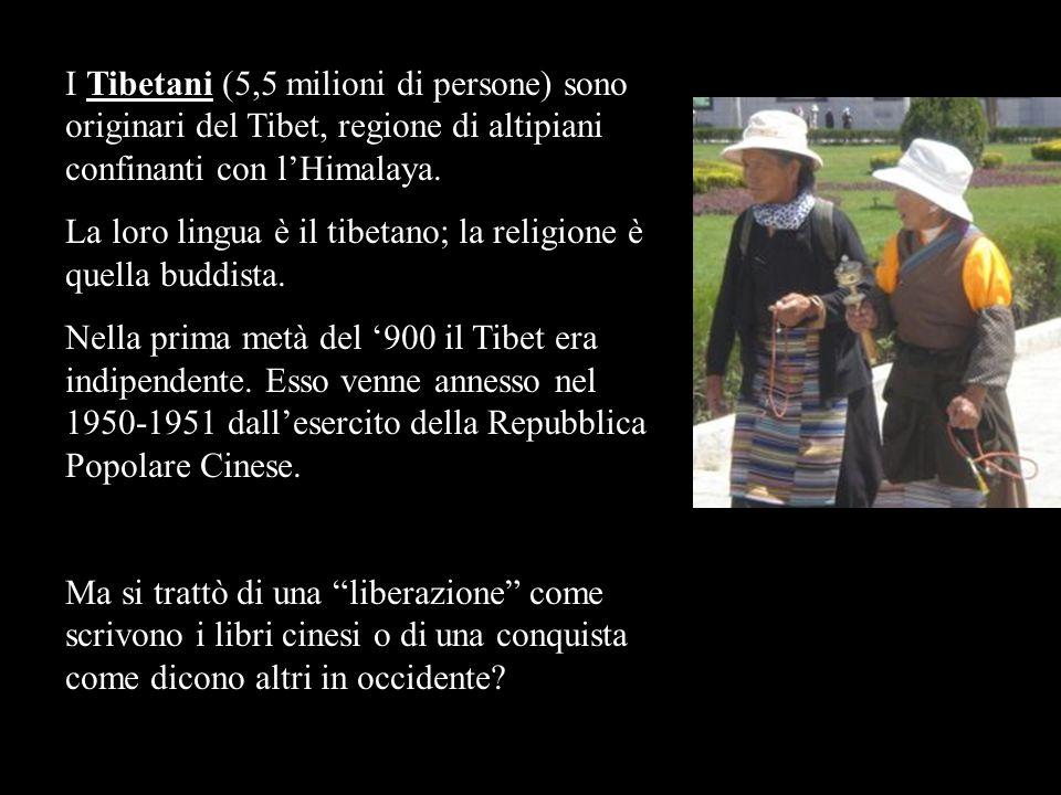 I Tibetani (5,5 milioni di persone) sono originari del Tibet, regione di altipiani confinanti con lHimalaya. La loro lingua è il tibetano; la religion