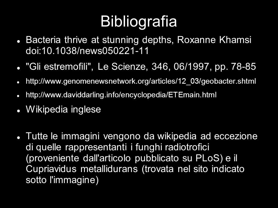 Bibliografia Bacteria thrive at stunning depths, Roxanne Khamsi doi:10.1038/news050221-11