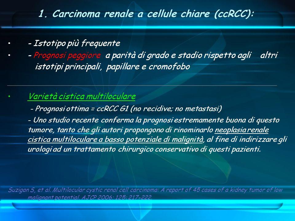 1. Carcinoma renale a cellule chiare (ccRCC): - Istotipo più frequente - Prognosi peggiore a parità di grado e stadio rispetto agli altri istotipi pri