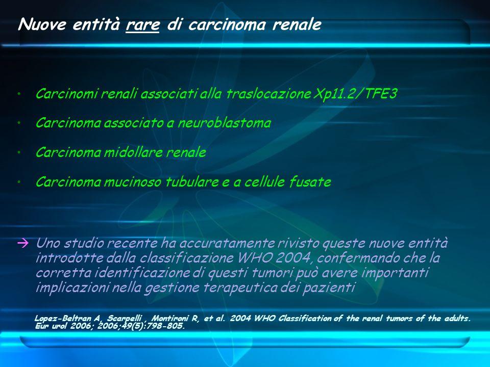 Nuove entità rare di carcinoma renale Carcinomi renali associati alla traslocazione Xp11.2/TFE3 Carcinoma associato a neuroblastoma Carcinoma midollar