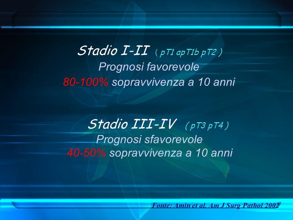 Stadio I-II ( pT1 apT1b pT2 ) Prognosi favorevole 80-100% sopravvivenza a 10 anni Stadio III-IV ( pT3 pT4 ) Prognosi sfavorevole 40-50% sopravvivenza