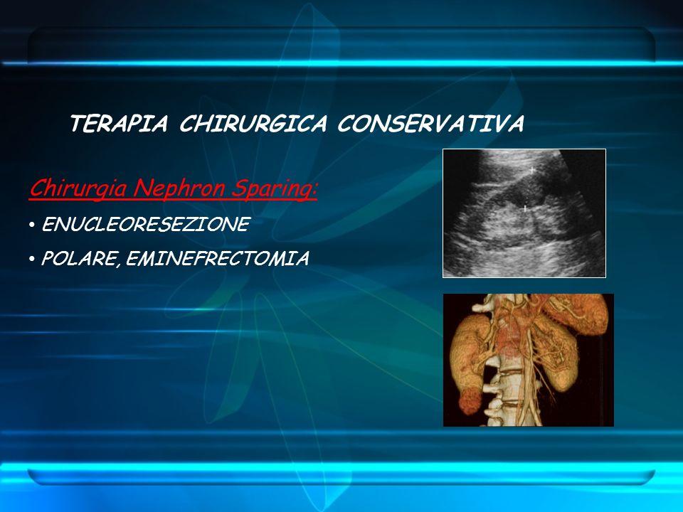 TERAPIA CHIRURGICA CONSERVATIVA Chirurgia Nephron Sparing: ENUCLEORESEZIONE POLARE, EMINEFRECTOMIA