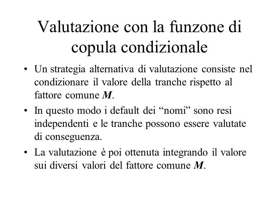 Valutazione con la funzone di copula condizionale Un strategia alternativa di valutazione consiste nel condizionare il valore della tranche rispetto a