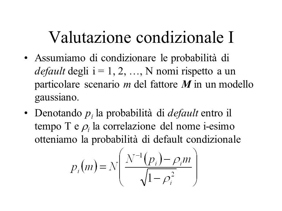 Valutazione condizionale I Assumiamo di condizionare le probabilità di default degli i = 1, 2, …, N nomi rispetto a un particolare scenario m del fatt