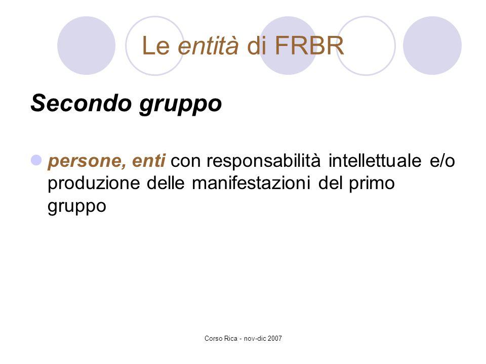 Corso Rica - nov-dic 2007 Le entità di FRBR Secondo gruppo persone, enti con responsabilità intellettuale e/o produzione delle manifestazioni del prim