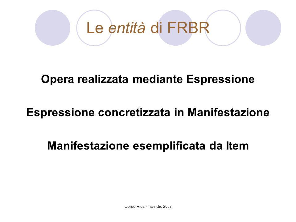 Corso Rica - nov-dic 2007 Le entità di FRBR Opera realizzata mediante Espressione Espressione concretizzata in Manifestazione Manifestazione esemplifi