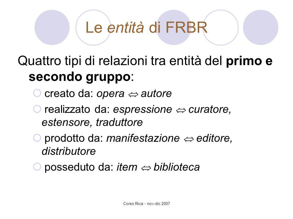 Corso Rica - nov-dic 2007 Le entità di FRBR Quattro tipi di relazioni tra entità del primo e secondo gruppo: creato da: opera autore realizzato da: es