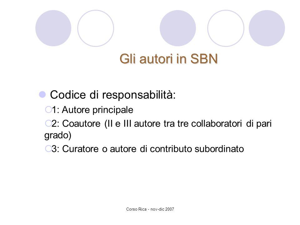 Corso Rica - nov-dic 2007 Gli autori in SBN Codice di responsabilità: 1: Autore principale 2: Coautore (II e III autore tra tre collaboratori di pari