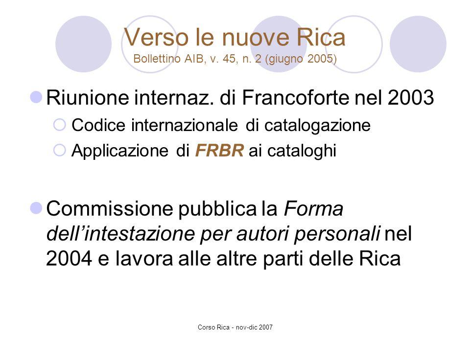 Corso Rica - nov-dic 2007 Verso le nuove Rica Bollettino AIB, v. 45, n. 2 (giugno 2005) Riunione internaz. di Francoforte nel 2003 Codice internaziona