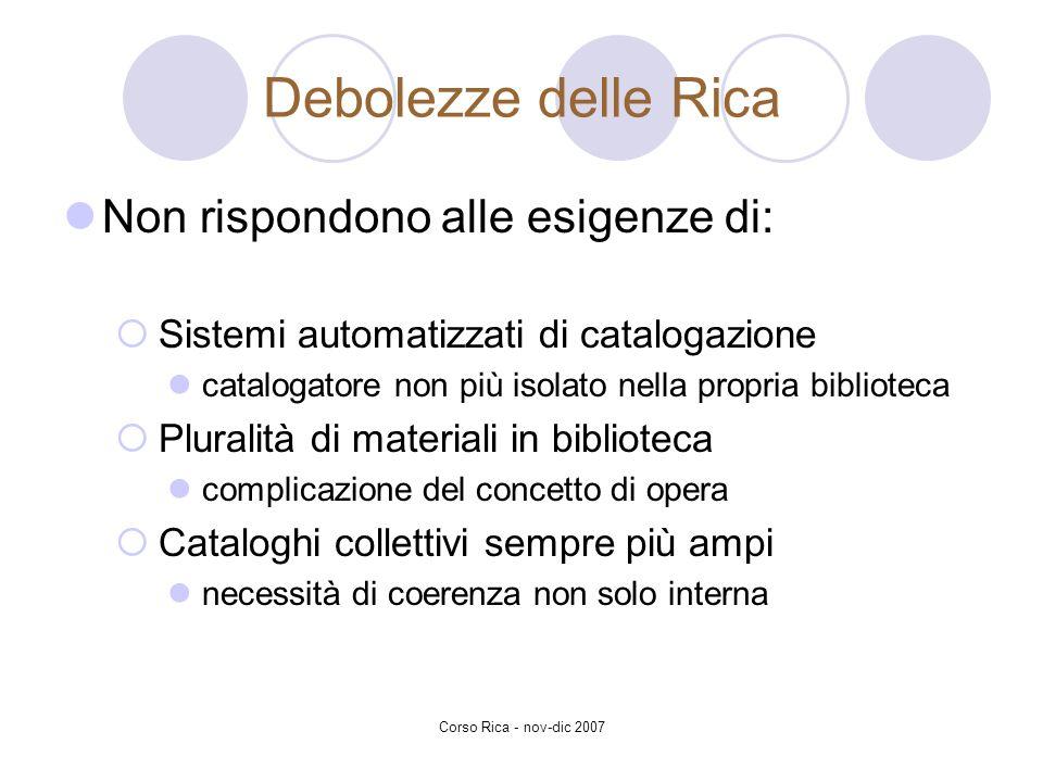 Corso Rica - nov-dic 2007 Debolezze delle Rica Non rispondono alle esigenze di: Sistemi automatizzati di catalogazione catalogatore non più isolato ne