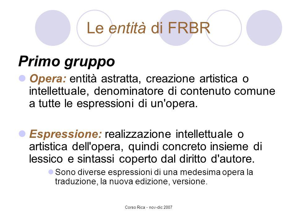 Corso Rica - nov-dic 2007 Le entità di FRBR Primo gruppo Opera: entità astratta, creazione artistica o intellettuale, denominatore di contenuto comune