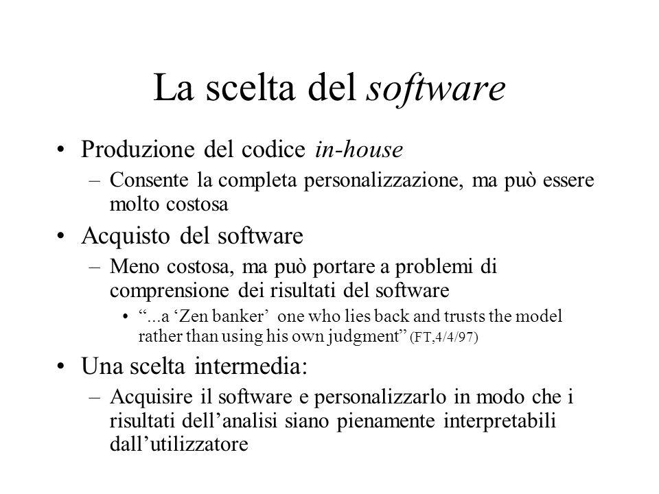 La scelta del software Produzione del codice in-house –Consente la completa personalizzazione, ma può essere molto costosa Acquisto del software –Meno