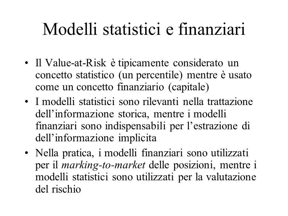 Modelli statistici e finanziari Il Value-at-Risk è tipicamente considerato un concetto statistico (un percentile) mentre è usato come un concetto fina