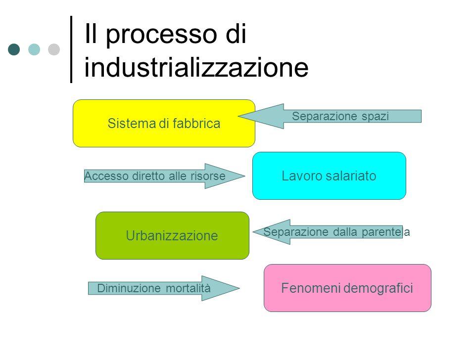 Il processo di industrializzazione Sistema di fabbrica Lavoro salariato Urbanizzazione Fenomeni demografici Separazione spazi Accesso diretto alle ris