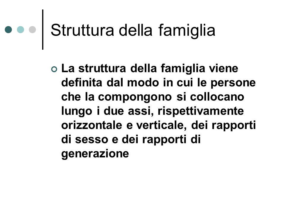 Struttura della famiglia La struttura della famiglia viene definita dal modo in cui le persone che la compongono si collocano lungo i due assi, rispet