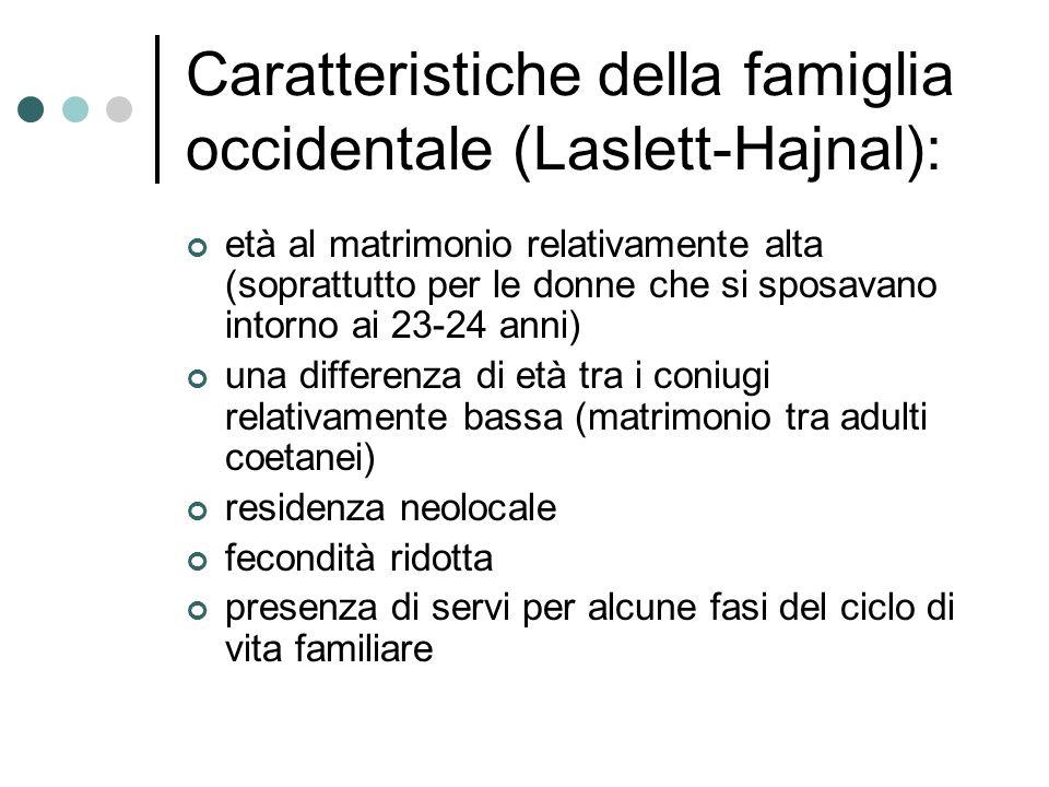 Caratteristiche della famiglia occidentale (Laslett-Hajnal): età al matrimonio relativamente alta (soprattutto per le donne che si sposavano intorno a