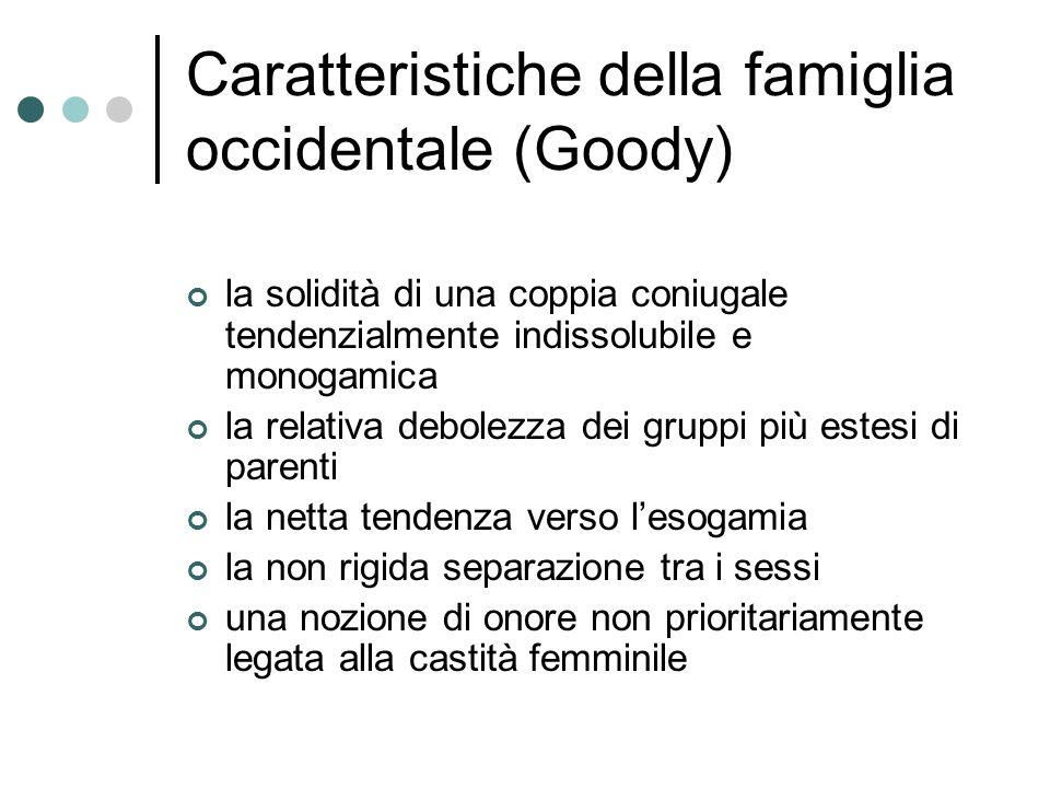 Caratteristiche della famiglia occidentale (Goody) la solidità di una coppia coniugale tendenzialmente indissolubile e monogamica la relativa debolezz