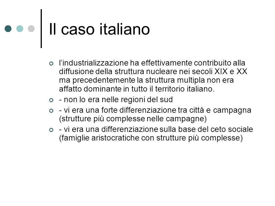 Il caso italiano lindustrializzazione ha effettivamente contribuito alla diffusione della struttura nucleare nei secoli XIX e XX ma precedentemente la