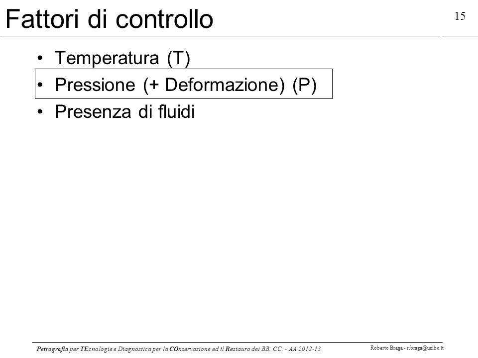 Petrografia per TEcnologie e Diagnostica per la COnservazione ed il Restauro dei BB. CC. - AA 2012-13 Roberto Braga - r.braga@unibo.it 15 Fattori di c