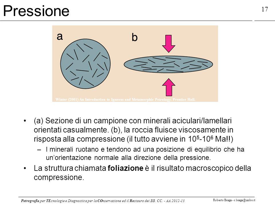 Petrografia per TEcnologie e Diagnostica per la COnservazione ed il Restauro dei BB. CC. - AA 2012-13 Roberto Braga - r.braga@unibo.it 17 Pressione (a