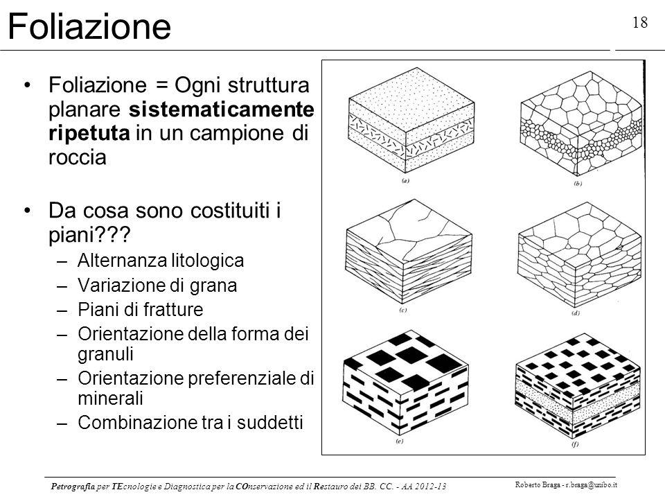 Petrografia per TEcnologie e Diagnostica per la COnservazione ed il Restauro dei BB. CC. - AA 2012-13 Roberto Braga - r.braga@unibo.it 18 Foliazione F