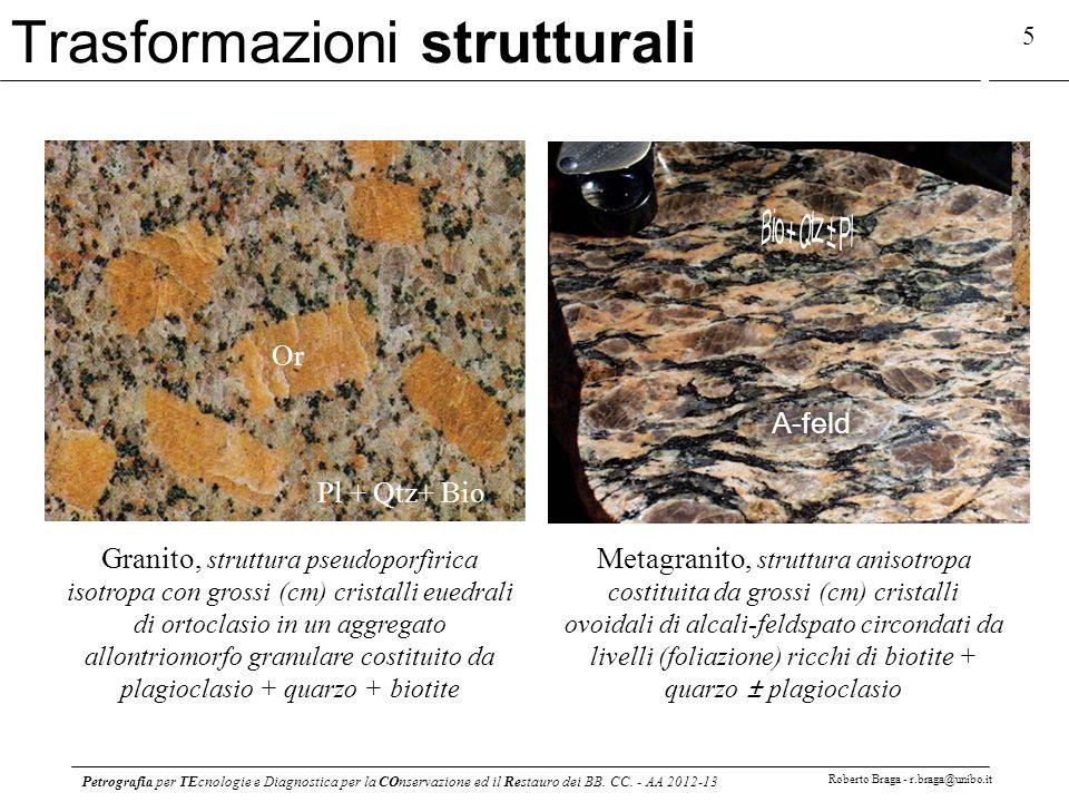 Petrografia per TEcnologie e Diagnostica per la COnservazione ed il Restauro dei BB. CC. - AA 2012-13 Roberto Braga - r.braga@unibo.it 5 Trasformazion