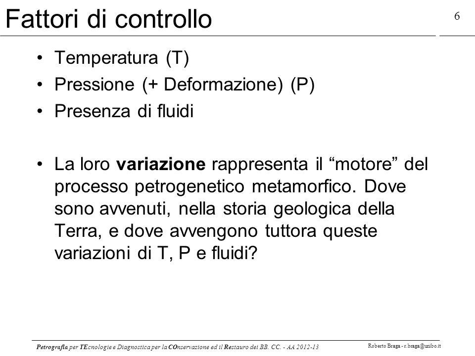 Petrografia per TEcnologie e Diagnostica per la COnservazione ed il Restauro dei BB. CC. - AA 2012-13 Roberto Braga - r.braga@unibo.it 6 Fattori di co